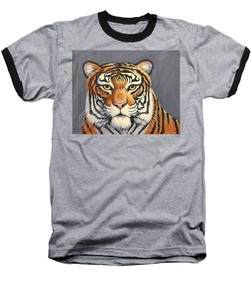 Baseball T-Shirt featuring the painting Malayan Tiger Portrait by Penny Birch-Williams