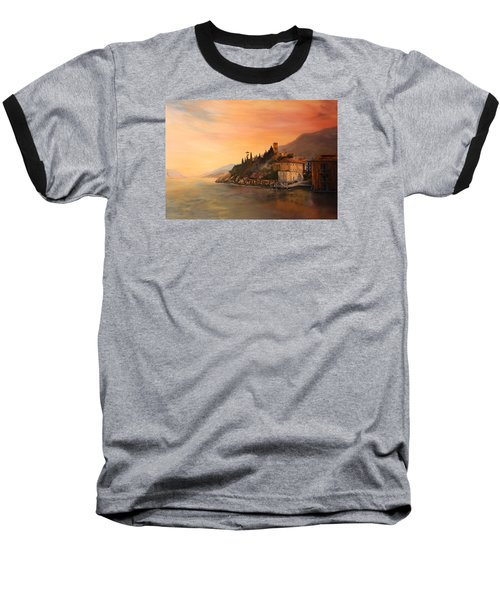 Baseball T-Shirt featuring the painting Malcesine Lake Garda Italy by Jean Walker