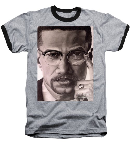 Baseball T-Shirt featuring the drawing Malcolm X by Wil Golden
