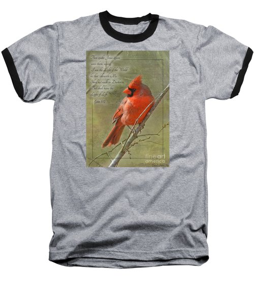 Male Cardinal On Twigs With Bible Verse Baseball T-Shirt by Debbie Portwood