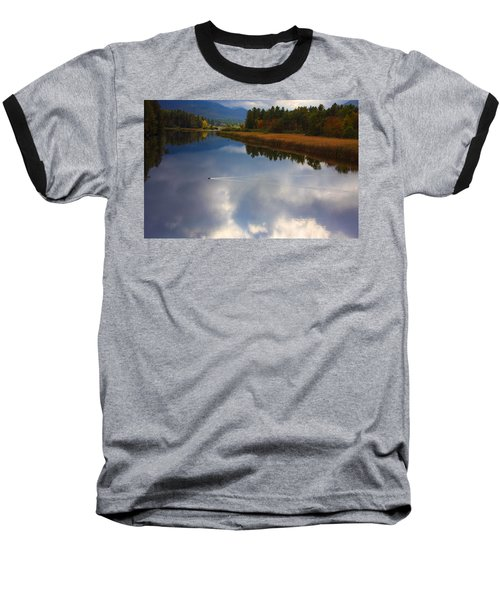 Baseball T-Shirt featuring the photograph Mallard Duck On Lake In Adirondack Mountains In Autumn by Jerry Cowart