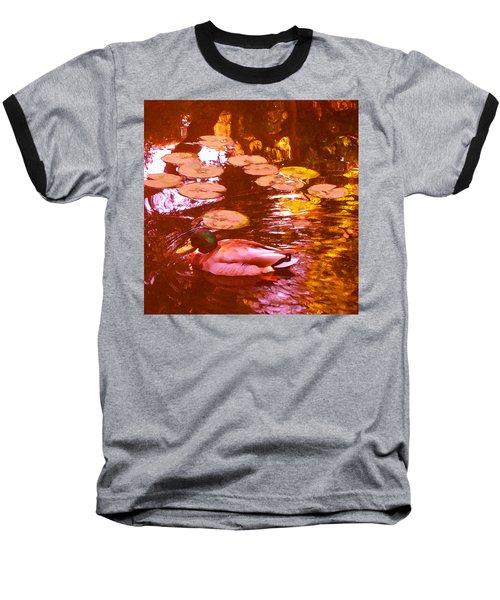 Mallard Duck On Pond 3 Square Baseball T-Shirt