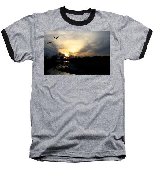 Mallards Silhouette At Sunset Baseball T-Shirt