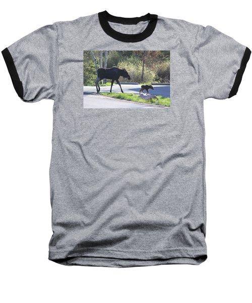 Mama And Baby Moose Baseball T-Shirt