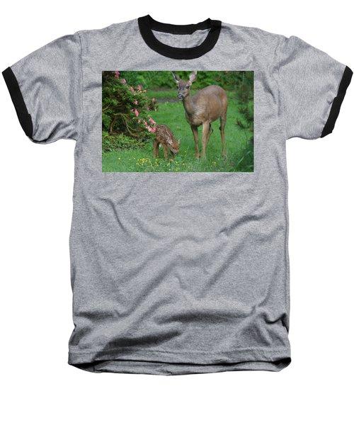 Mama Deer And Baby Bambi Baseball T-Shirt by Kym Backland