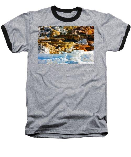 Mammoth Hot Springs Rock Formation No1 Baseball T-Shirt