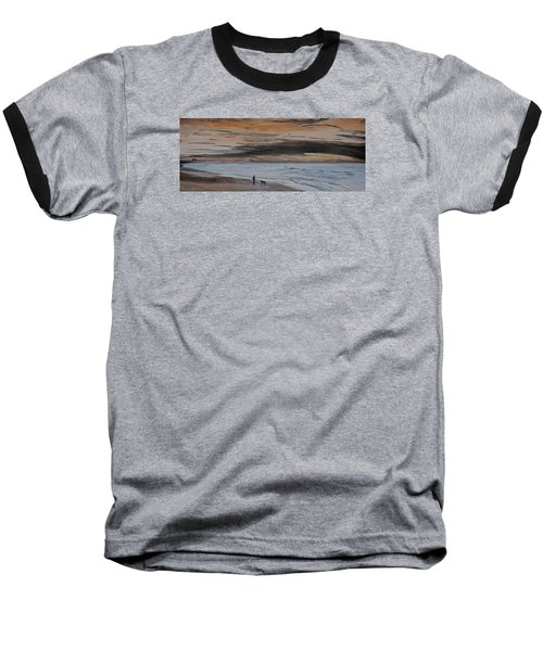 Man And Dog On The Beach Baseball T-Shirt by Ian Donley
