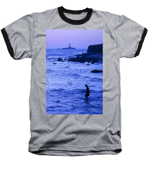 Man And Lighthouse Baseball T-Shirt