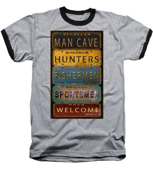 Man Cave-license Plate Art Baseball T-Shirt