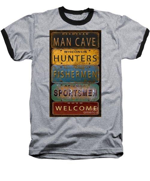 Man Cave-license Plate Art Baseball T-Shirt