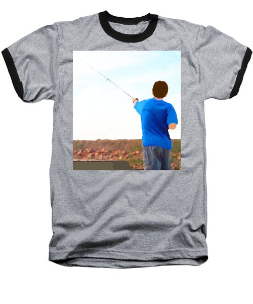 Man Fishing Baseball T-Shirt by Marian Cates