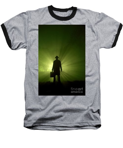 Baseball T-Shirt featuring the photograph Man In Light Beams by Lee Avison