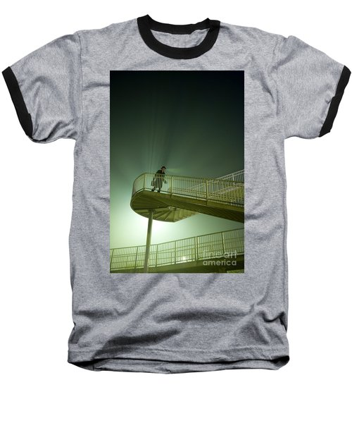 Baseball T-Shirt featuring the photograph Man On Stairs With Case In Fog by Lee Avison