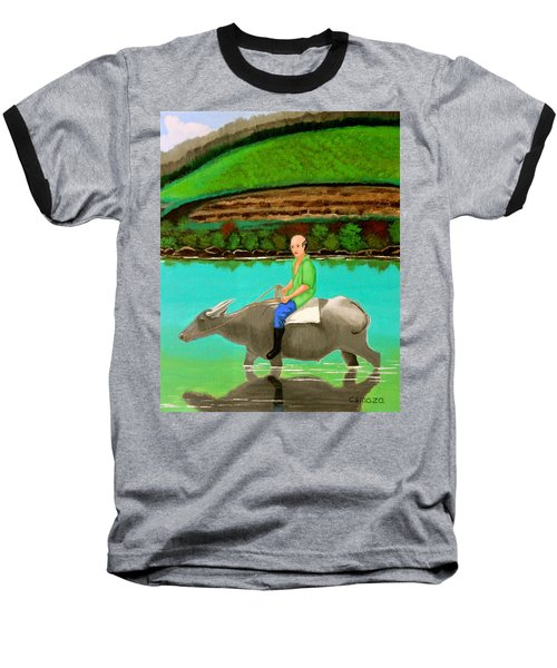 Baseball T-Shirt featuring the painting Man Riding A Carabao by Cyril Maza
