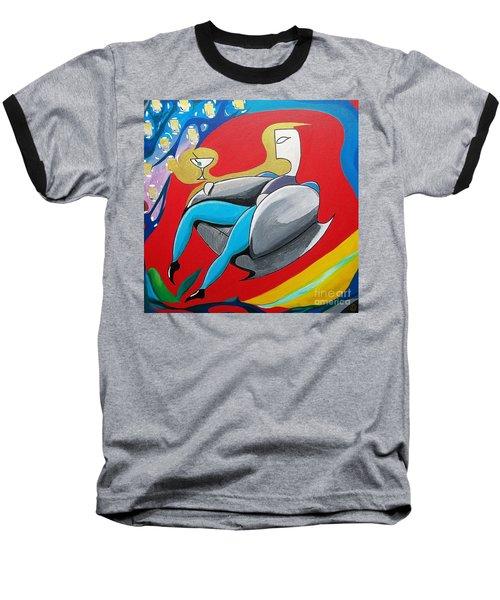Man Sitting In Chair Baseball T-Shirt