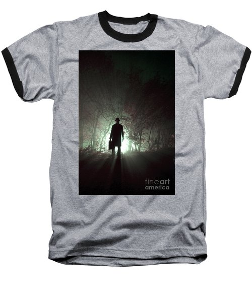 Baseball T-Shirt featuring the photograph Man Waiting In Fog With Case by Lee Avison