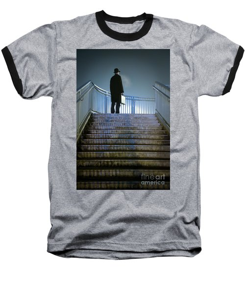 Baseball T-Shirt featuring the photograph Man With Case At Night On Stairs by Lee Avison