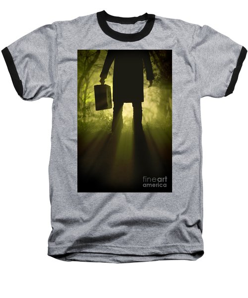 Baseball T-Shirt featuring the photograph Man With Case In Fog by Lee Avison