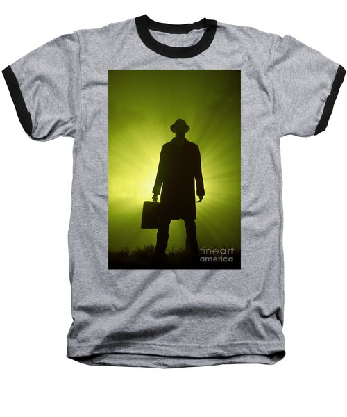 Baseball T-Shirt featuring the photograph Man With Case In Green Light by Lee Avison