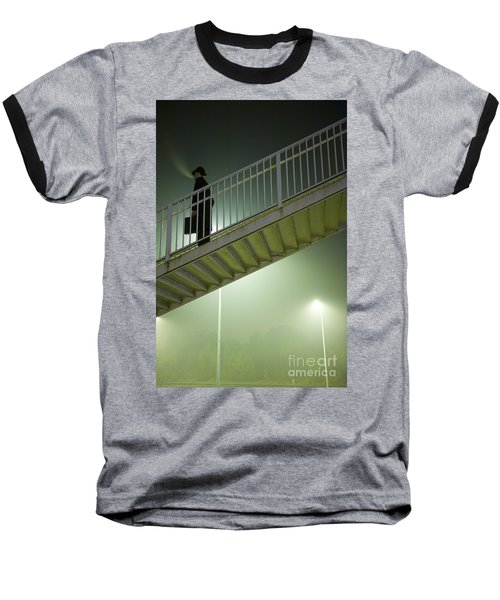 Baseball T-Shirt featuring the photograph Man With Case On Steps Nighttime by Lee Avison