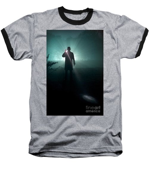 Baseball T-Shirt featuring the photograph Man With Flashlight  by Lee Avison