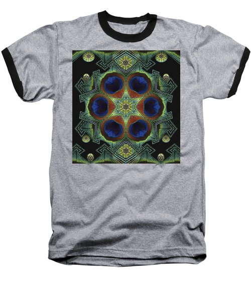 Baseball T-Shirt featuring the digital art Mandala Peacock  by Nancy Griswold