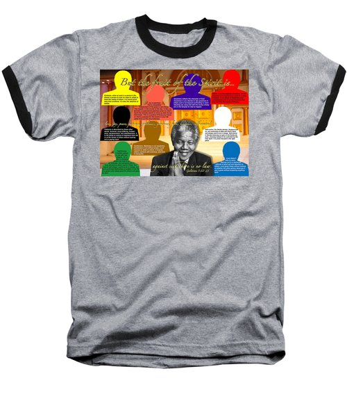 Mandela's Rainbow With Scripture Baseball T-Shirt by Terry Wallace