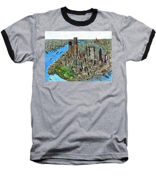 New York Downtown Manhattan 1972 Baseball T-Shirt
