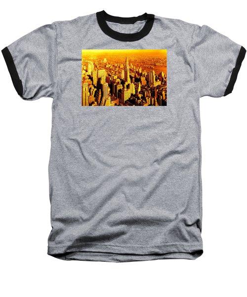 Manhattan And Chrysler Building Baseball T-Shirt