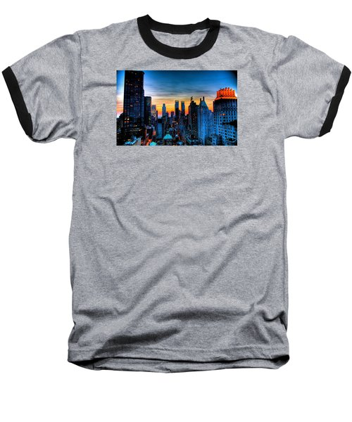 Manhattan At Sunset Baseball T-Shirt
