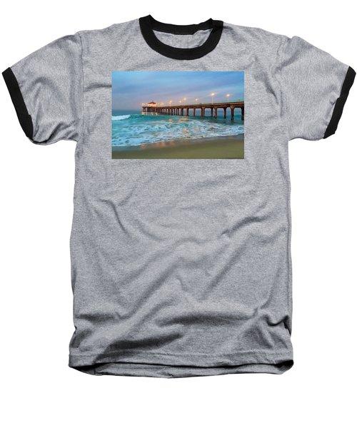 Manhattan Beach Reflections Baseball T-Shirt by Art Block Collections