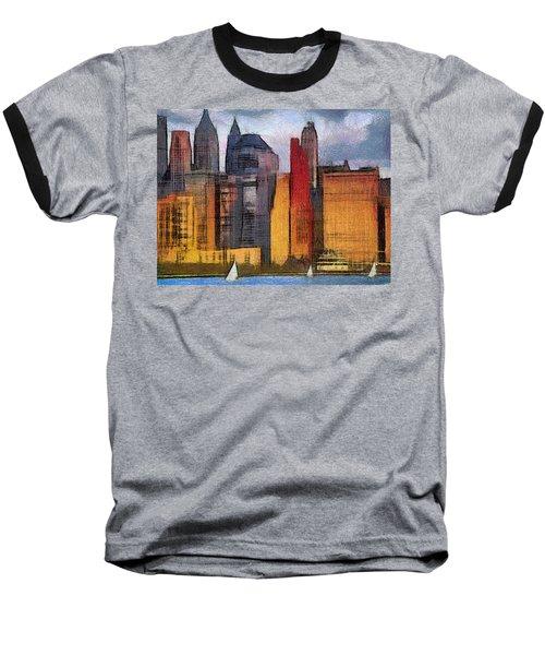 Beautiful City Manhattan Digital Painting Baseball T-Shirt by Georgi Dimitrov