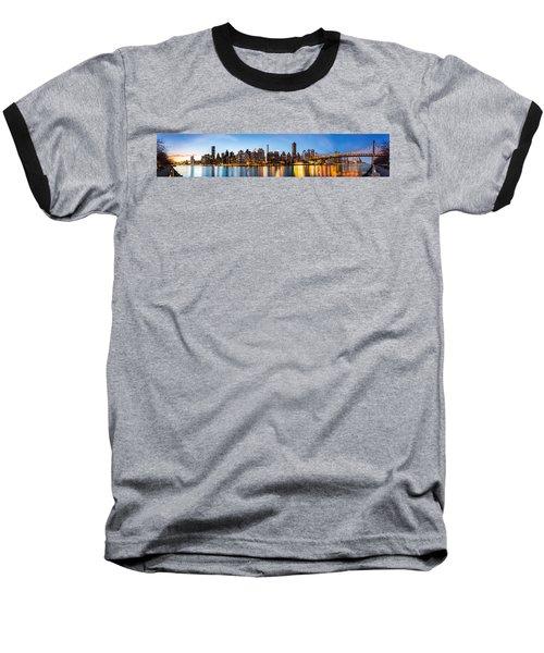 Manhattan Panorama And Queensboro Bridge Baseball T-Shirt