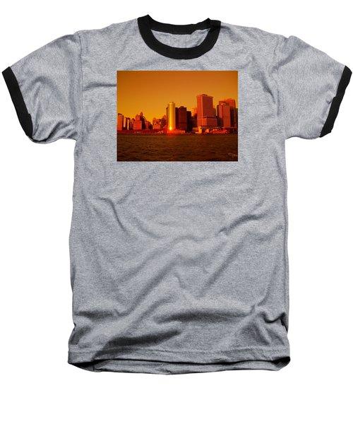 Manhattan Skyline At Sunset Baseball T-Shirt