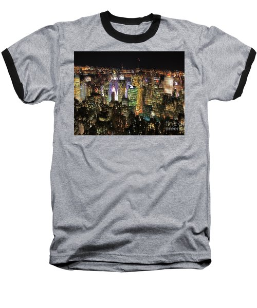 Baseball T-Shirt featuring the photograph Manhattan Skyline Empire State Wobbles by Andy Prendy