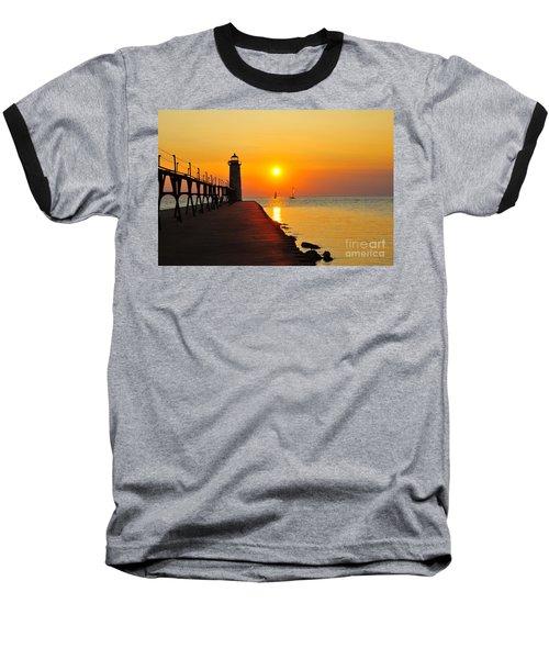 Manistee Lighthouse Sunset Baseball T-Shirt