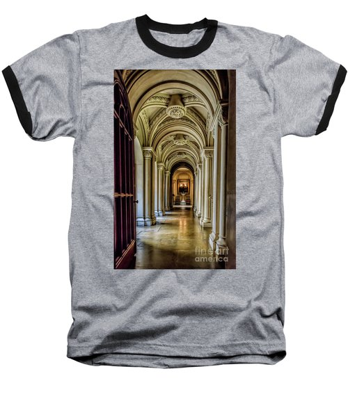Mansion Hallway Baseball T-Shirt by Adrian Evans