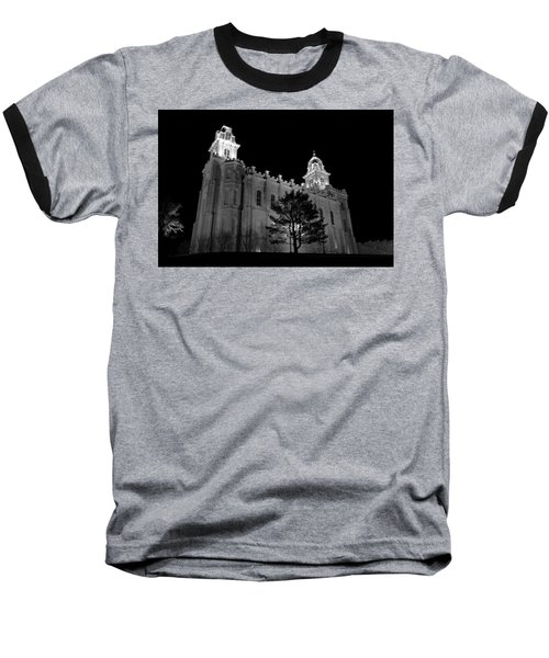 Manti Temple Black And White Baseball T-Shirt