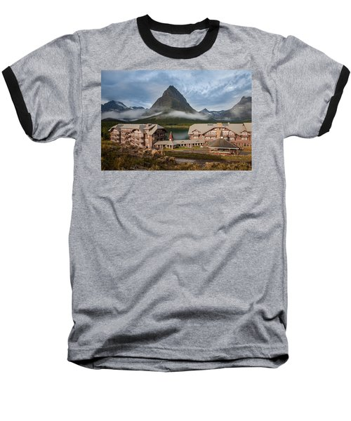 Many Glacier Hotel Baseball T-Shirt