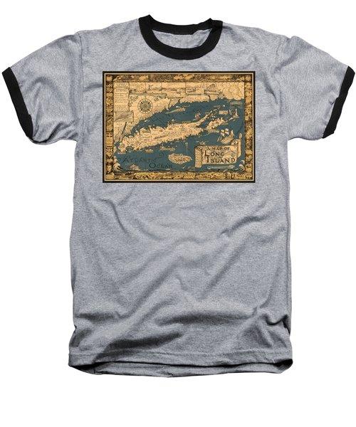 Map Of Long Island Baseball T-Shirt