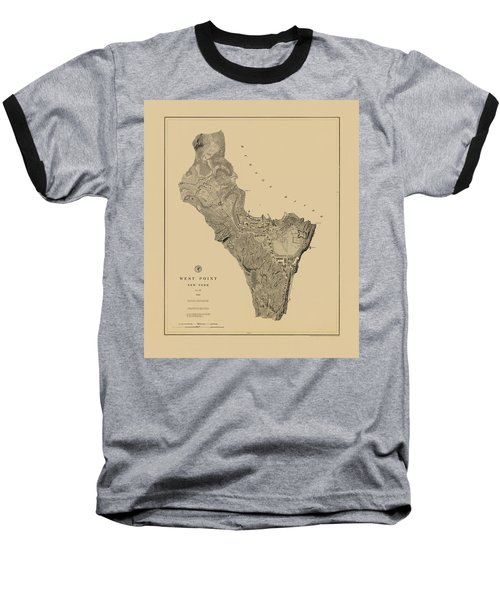 Map Of West Point 1883 Baseball T-Shirt