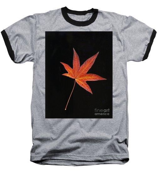 Maple Leaf On Black 2 Baseball T-Shirt