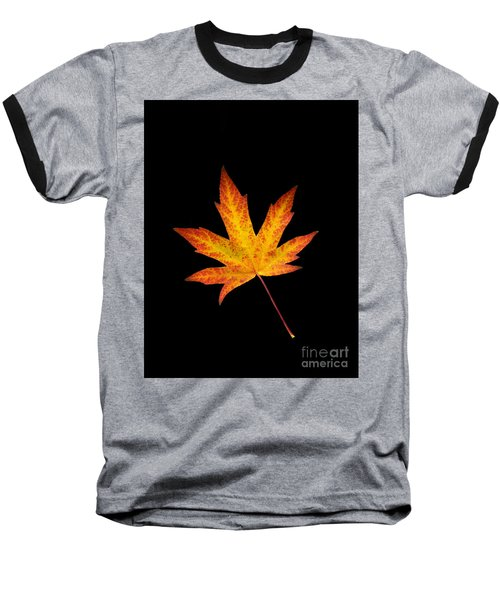 Maple Leaf On Black Baseball T-Shirt
