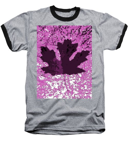 Maple Leaf Purple Pop Poster Hues  Baseball T-Shirt by R Muirhead Art