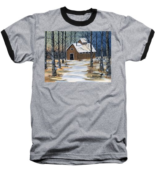 Maple Syrup Shack Baseball T-Shirt by Brenda Brown