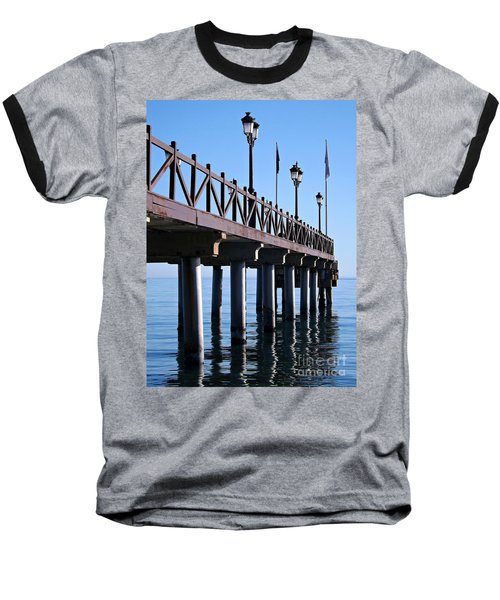 Baseball T-Shirt featuring the photograph Marbella Pier Spain by Clare Bevan