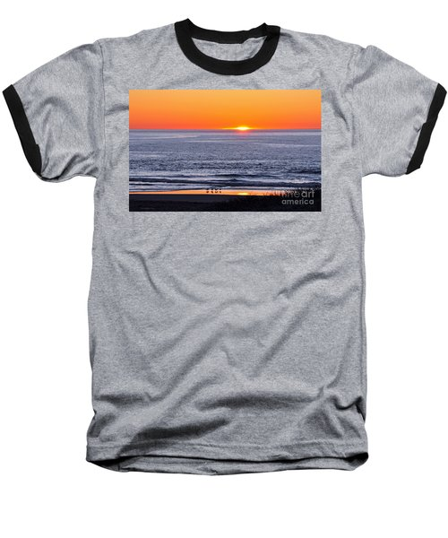 Baseball T-Shirt featuring the photograph Marbled Godwits Reflecting A Sunset by Susan Wiedmann