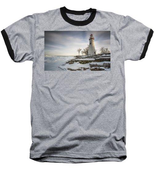 Marblehead Lighthouse Winter Baseball T-Shirt by James Dean
