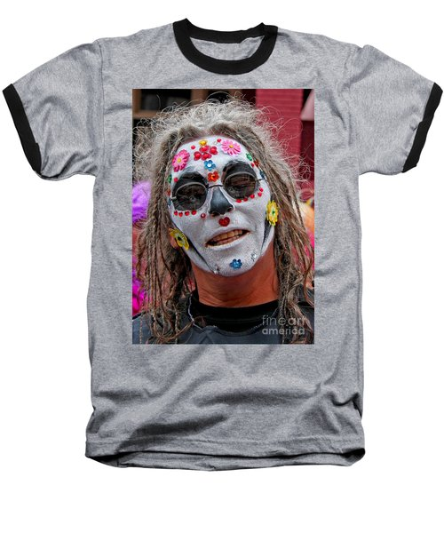Mardi Gras Happy Face Baseball T-Shirt by Luana K Perez