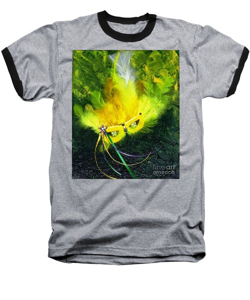 Baseball T-Shirt featuring the painting Mardi Gras On Green by Alys Caviness-Gober